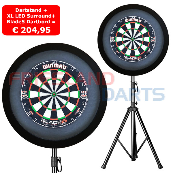 FrieslandDarts.nl | Dartbord LED Surround XL Zwart + Blade5 + Dartstand