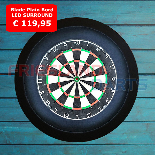 blade plain dartbord led surround zwart rood blauw